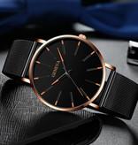 Geneva Quartz Horloge - Anoloog Luxe Uurwerk voor Mannen en Vrouwen  - Roestvrij staal - Zilver
