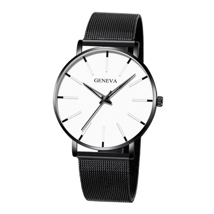Quartz Horloge - Anoloog Luxe Uurwerk voor Mannen en Vrouwen  - Roestvrij staal - Zwart-Wit