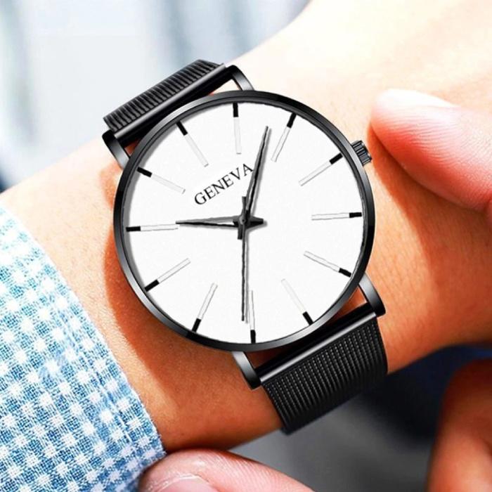 Geneva Quartz Horloge - Anoloog Luxe Uurwerk voor Mannen en Vrouwen  - Roestvrij staal - Zwart-Wit