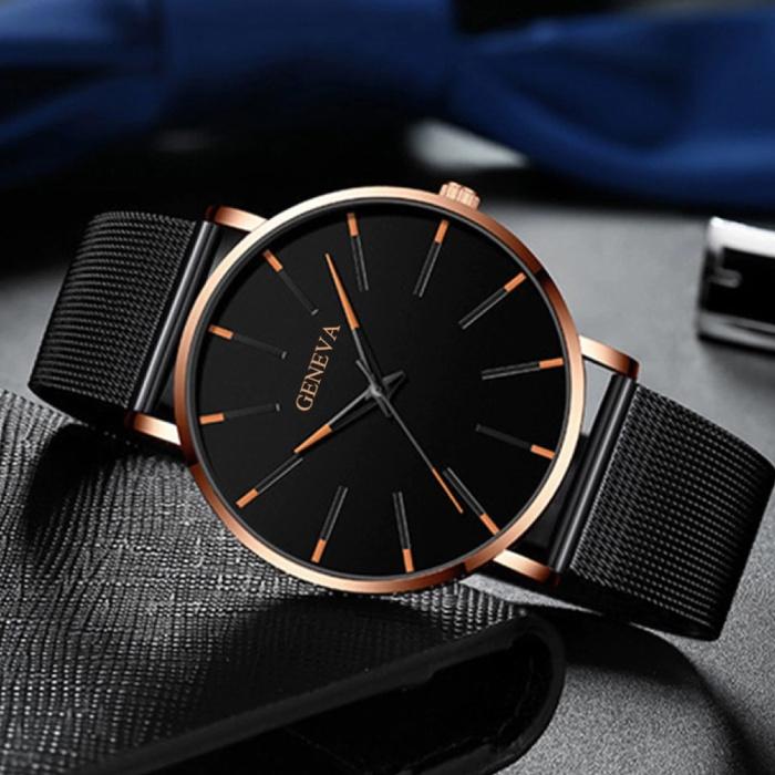Geneva Quartz Horloge - Anoloog Luxe Uurwerk voor Mannen en Vrouwen  - Roestvrij staal - Zwart-Blauw