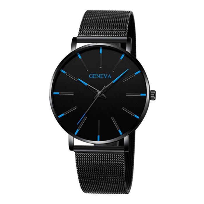 Quartz Horloge - Anoloog Luxe Uurwerk voor Mannen en Vrouwen  - Roestvrij staal - Zwart-Blauw
