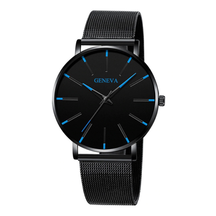Quartz Watch - Anologue Luxury Movement for Men and Women - Stainless Steel - Black-Blue