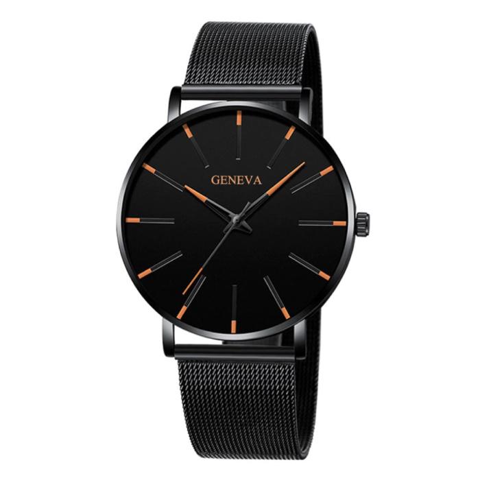Geneva Quartz Horloge - Anoloog Luxe Uurwerk voor Mannen en Vrouwen  - Roestvrij staal - Zwart-Oranje
