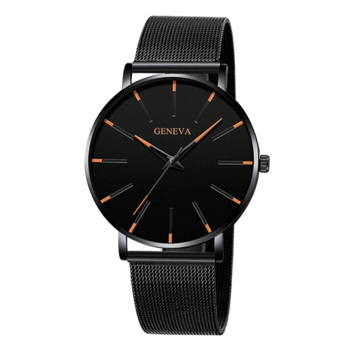 Quartz Watch - Anologian Luxury Movement for Men and Women - Stainless Steel - Black-Orange