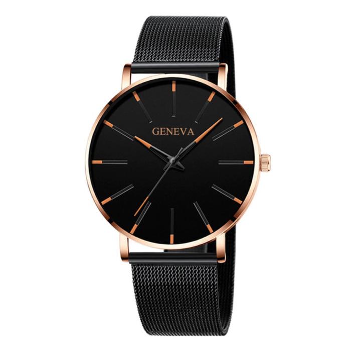 Quartz Horloge - Anoloog Luxe Uurwerk voor Mannen en Vrouwen  - Roestvrij staal - Zwart-Goud