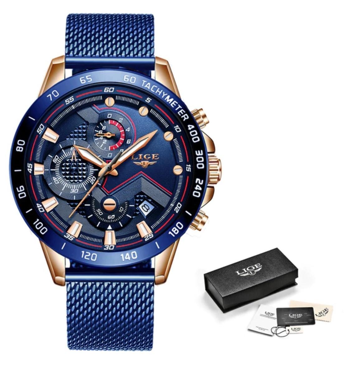 Montre à quartz - Mouvement de luxe Anologue pour homme - Acier inoxydable - Bleu