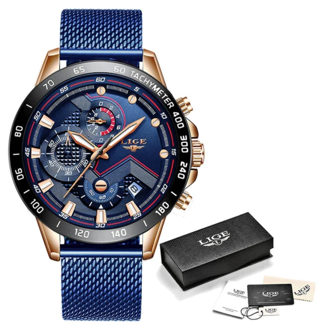 Quartz Watch - Anologue Luxury Movement for Men - Stainless Steel - Blue-Black