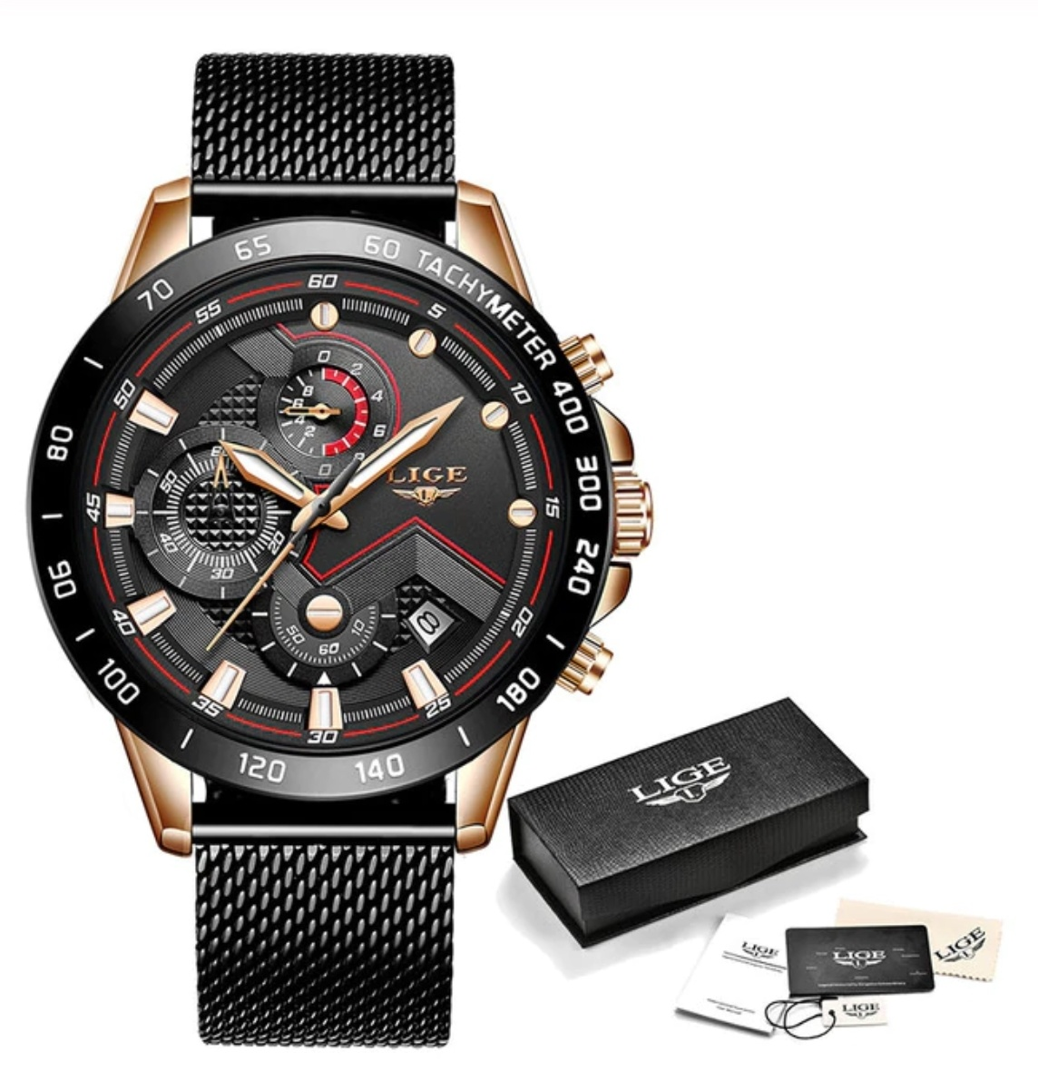 Quartz Watch - Anologue Luxury Movement for Men - Stainless Steel - Black-Gold