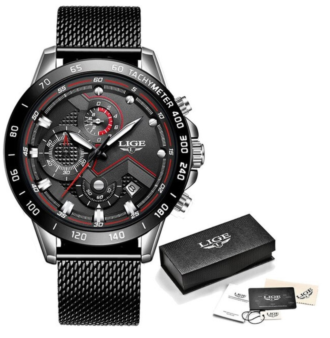 Quartz Watch - Anologue Luxury Movement for Men - Stainless Steel - Black
