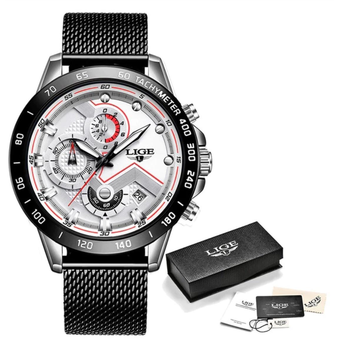 Quartz Horloge - Anoloog Luxe Uurwerk voor Heren - Roestvrij staal - Zwart-Wit