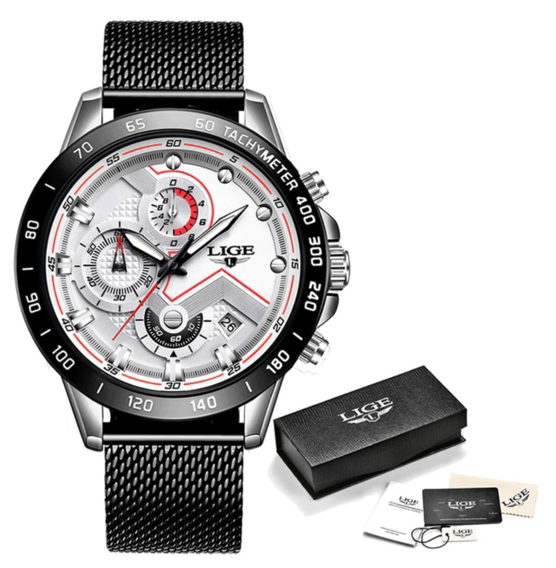 Quartz Watch - Anologue Luxury Movement for Men - Stainless Steel - Black-White