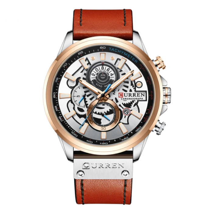 Anologue Watch - Leather Strap Luxury Quartz Movement for Men - Stainless Steel - Orange-Silver