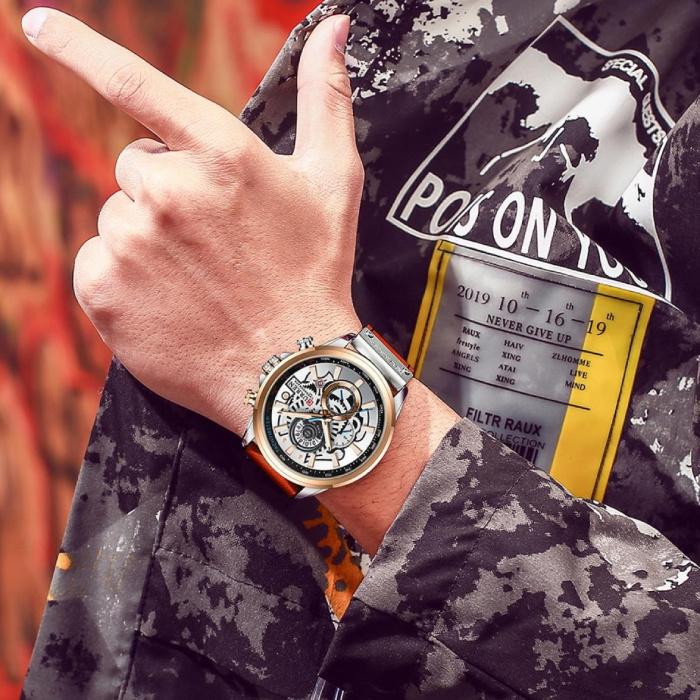 Curren Anoloog Horloge - Leren Bandje Luxe Kwarts Uurwerk voor Heren - Roestvrij staal - Oranje-Zilver