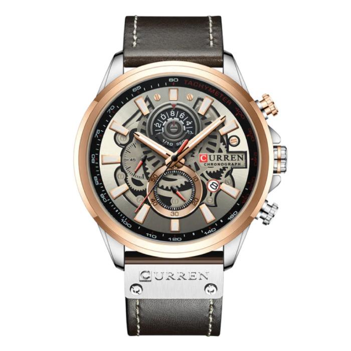 Anologue Watch - Lederarmband Luxus Quarzwerk für Herren - Edelstahl - Schwarz