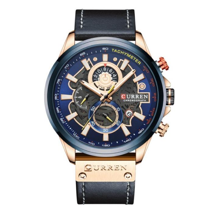 Montre Anologue - Bracelet en cuir Mouvement à quartz de luxe pour homme - Acier inoxydable - Bleu