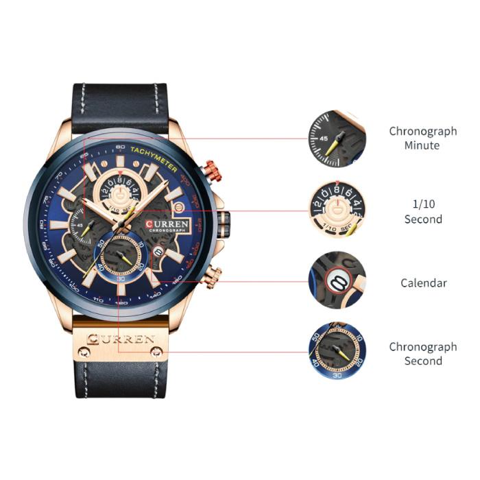 Curren Anoloog Horloge - Leren Bandje Luxe Kwarts Uurwerk voor Heren - Roestvrij staal - Bruin