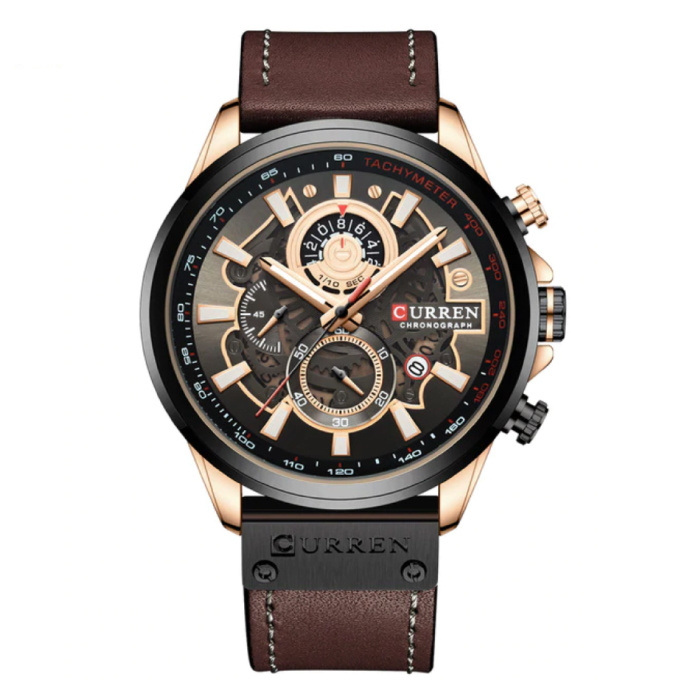 Anologue Watch - Leather Strap Luxury Quartz Movement for Men - Stainless Steel - Brown
