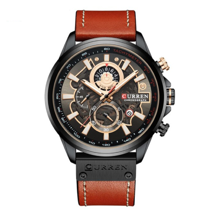 Anologue Watch - Leather Strap Luxury Quartz Movement for Men - Stainless Steel - Orange-Black