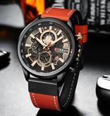 Curren Anoloog Horloge - Leren Bandje Luxe Kwarts Uurwerk voor Heren - Roestvrij staal - Oranje-Zwart