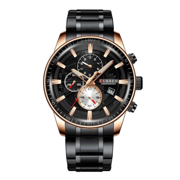 Staal Luxe Horloge - Bandje Analoog Kwarts Roestvrij Uurwerk voor Heren - Zwart