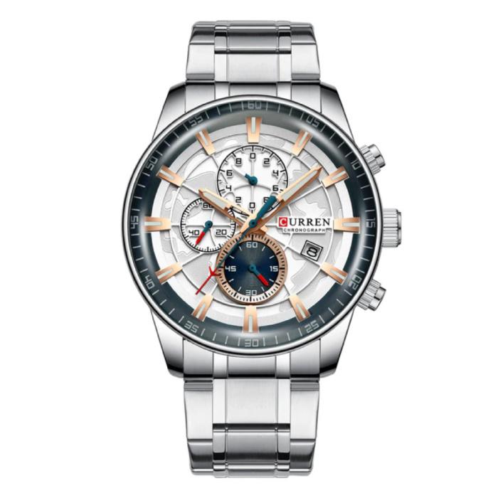 Staal Luxe Horloge - Bandje Analoog Kwarts Roestvrij Uurwerk voor Heren - Zilver-Goud