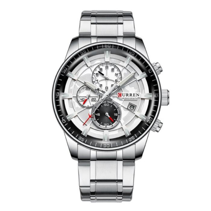 Staal Luxe Horloge - Bandje Analoog Kwarts Roestvrij Uurwerk voor Heren - Zilver
