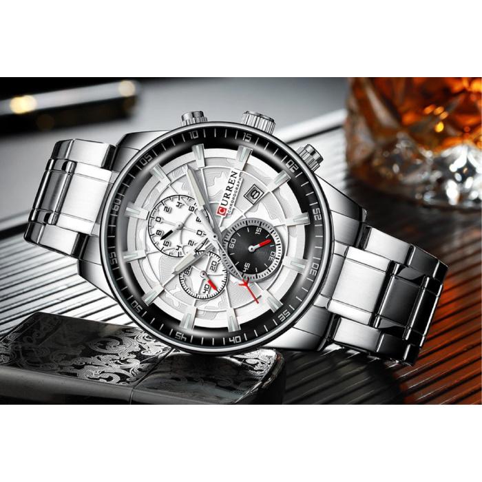 Curren Staal Luxe Horloge - Bandje Analoog Kwarts Roestvrij Uurwerk voor Heren - Zilver