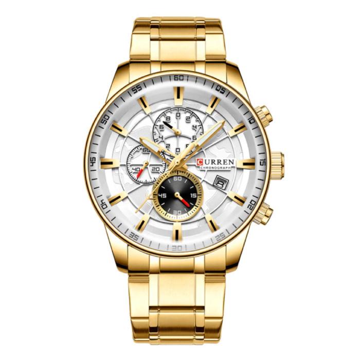 Stahl Luxusuhr - Armband Analog Quarz Edelstahlwerk für Herren - Gold