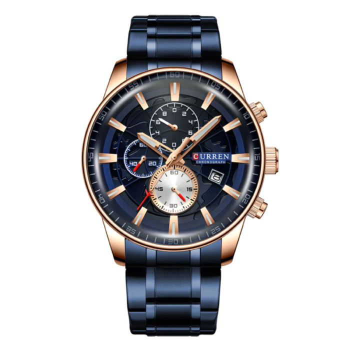 Staal Luxe Horloge - Bandje Analoog Kwarts Roestvrij Uurwerk voor Heren - Blauw