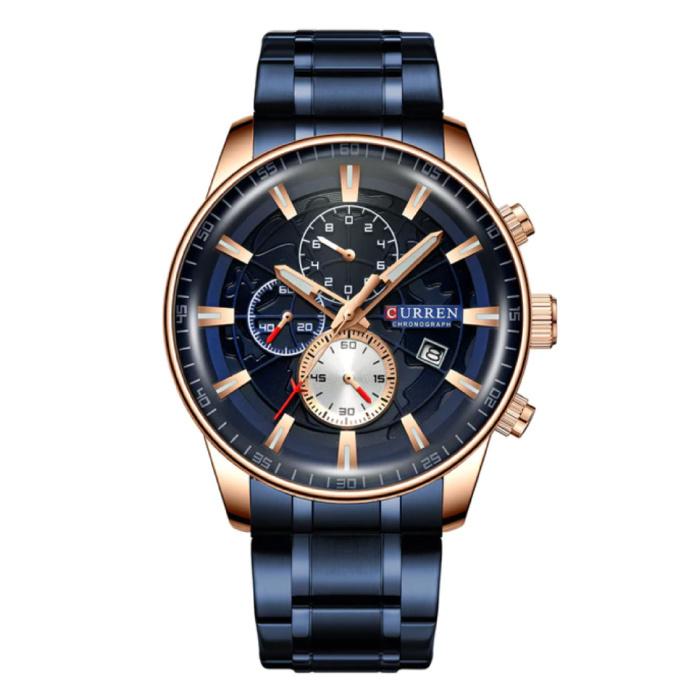 Stahl Luxusuhr - Armband Analog Quarz Edelstahlwerk für Herren - Blau