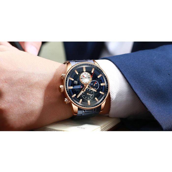 Curren Staal Luxe Horloge - Bandje Analoog Kwarts Roestvrij Uurwerk voor Heren - Blauw