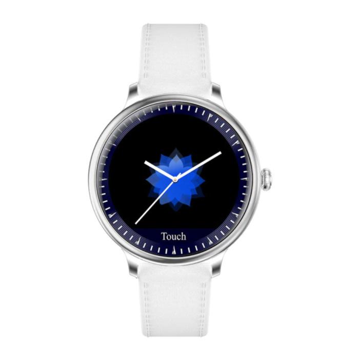 Montre Smartwatch de luxe NY12 Tracker d'activité de remise en forme iOS Android - Blanc