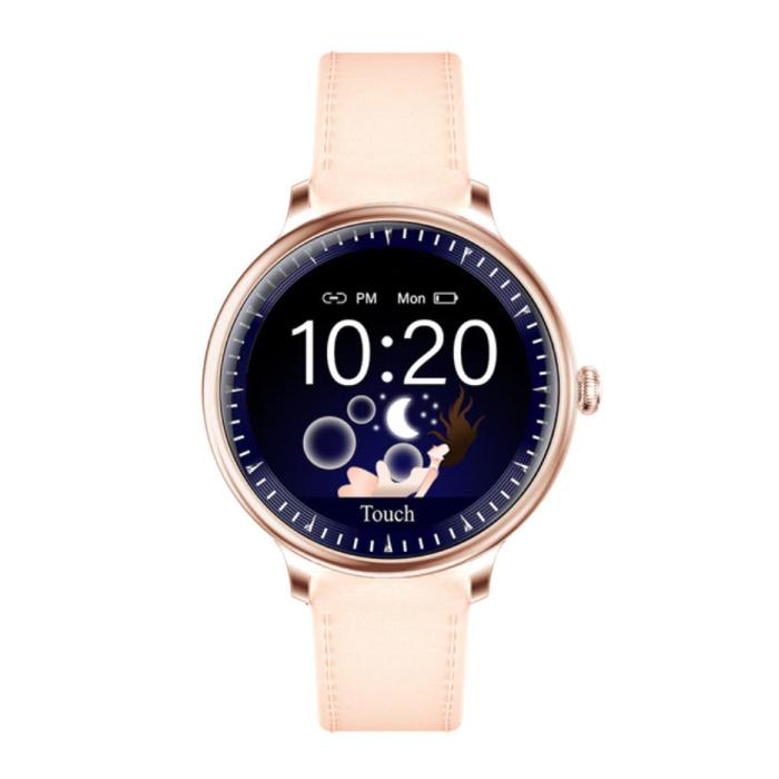 Montre Smartwatch de luxe NY12 Tracker d'activité de remise en forme iOS Android - Cuir rose