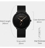 CRRJU Kwarts Horloge - Anoloog Luxe Uurwerk voor Mannen en Vrouwen  - Roestvrij staal - Zilver