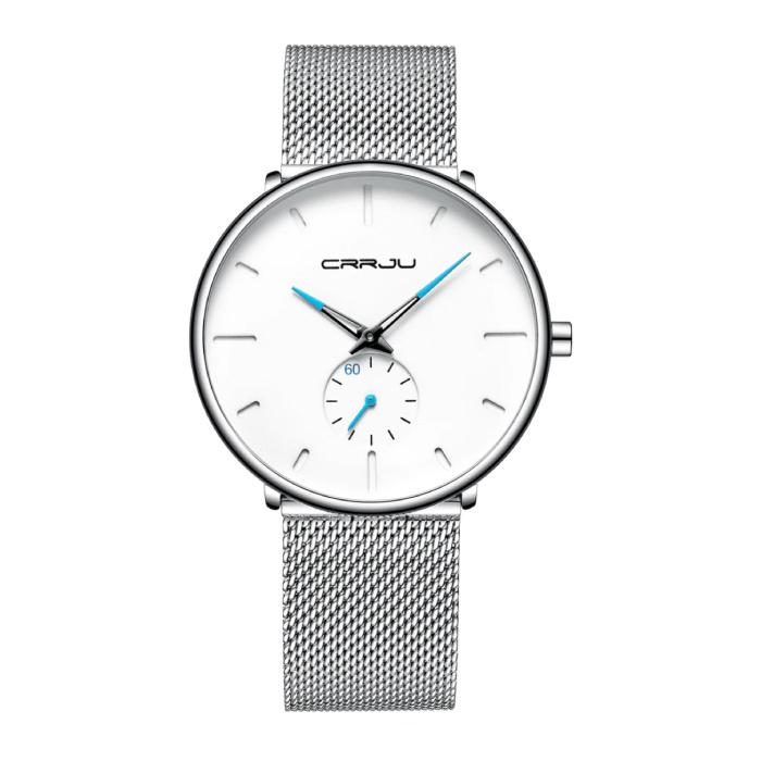 Kwarts Horloge - Anoloog Luxe Uurwerk voor Mannen en Vrouwen  - Roestvrij staal - Zilver