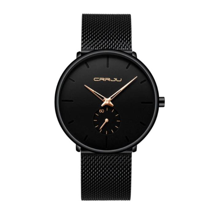 Kwarts Horloge - Anoloog Luxe Uurwerk voor Mannen en Vrouwen  - Zwart-Goud