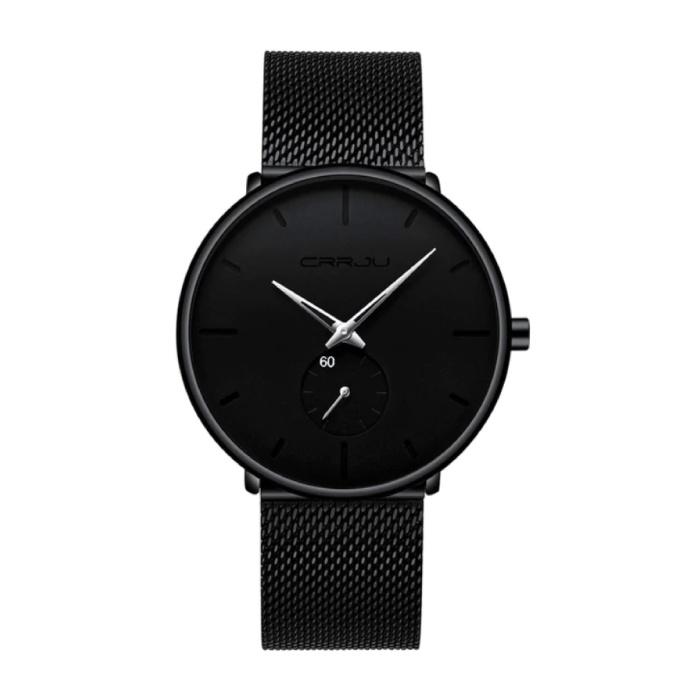 Kwarts Horloge - Anoloog Luxe Uurwerk voor Mannen en Vrouwen  - Zwart-Zilver