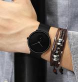 CRRJU Kwarts Horloge - Anoloog Luxe Uurwerk voor Mannen en Vrouwen  - Zwart