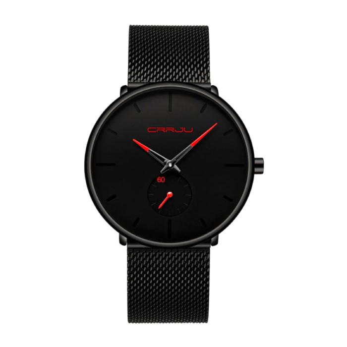 CRRJU Kwarts Horloge - Anoloog Luxe Uurwerk voor Mannen en Vrouwen  - Zwart-Rood