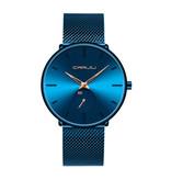 CRRJU Kwarts Horloge - Anoloog Luxe Uurwerk voor Mannen en Vrouwen  - Blauw-Goud
