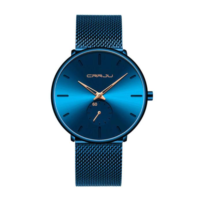 Montre à quartz - Mouvement de luxe Anologue pour homme et femme - Bleu-Or