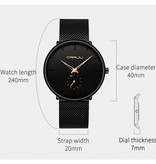 CRRJU Kwarts Horloge - Anoloog Luxe Uurwerk voor Mannen en Vrouwen  - Zwart-Blauw