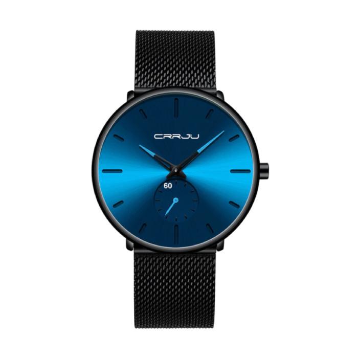 Kwarts Horloge - Anoloog Luxe Uurwerk voor Mannen en Vrouwen  - Zwart-Blauw
