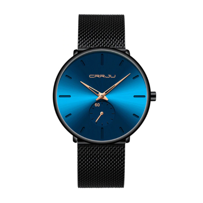 Quartz Watch - Anologue Luxury Movement for Men and Women - Black-Blue