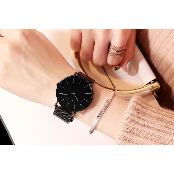 Hannah Martin Dames Horloge - Anoloog Uurwerk Mesh Bandje voor Vrouwen - B36-WFF