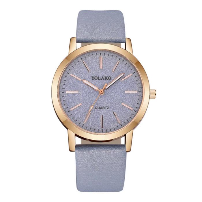 Kwarts Horloge Dames - Anoloog Luxe Uurwerk voor Vrouwen Lichtblauw