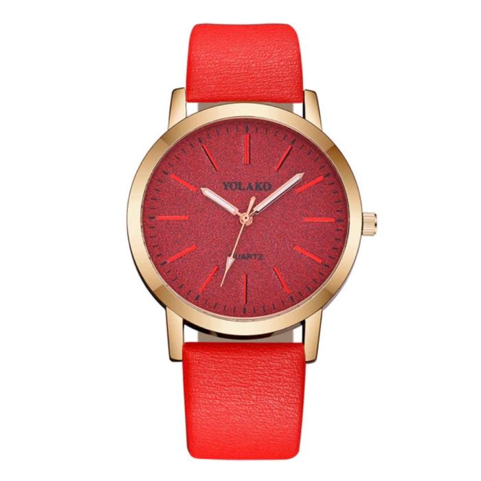 Montre à quartz pour femme - Mouvement de luxe Anologue pour femme rouge