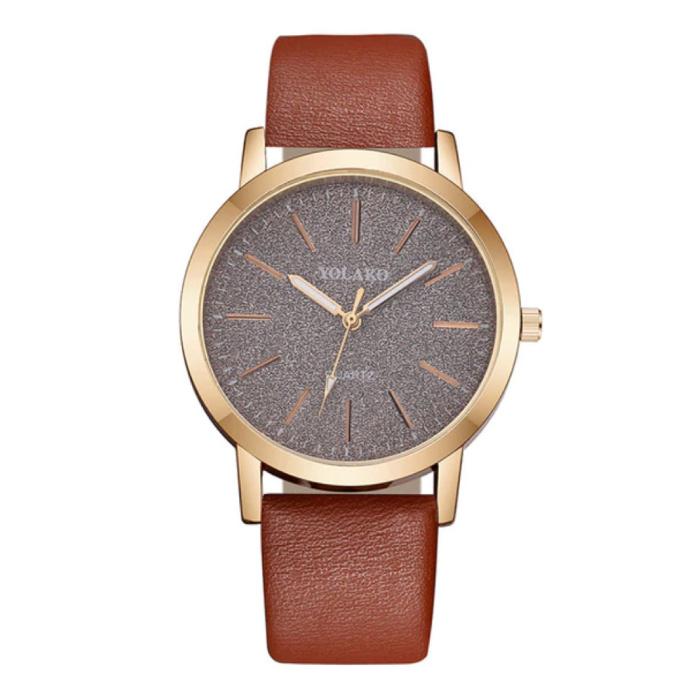 Kwarts Horloge Dames - Anoloog Luxe Uurwerk voor Vrouwen Bruin