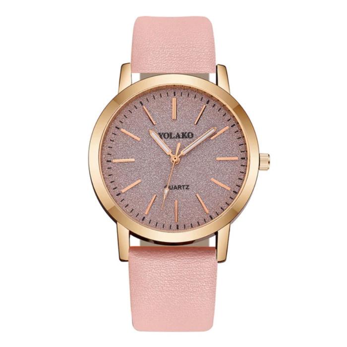 Montre à quartz pour femme - Montre de luxe Anologue pour femme rose