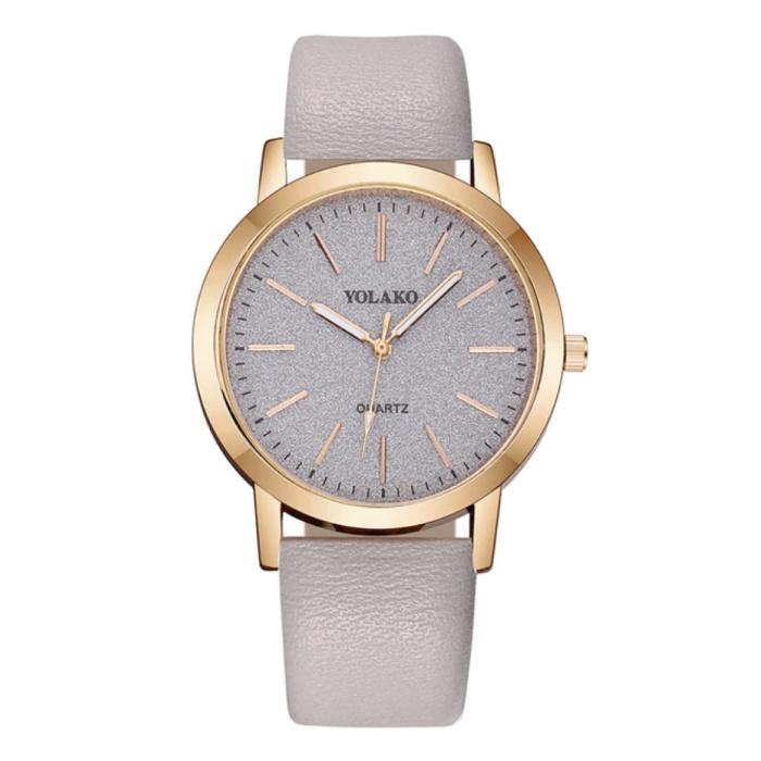 Kwarts Horloge Dames - Anoloog Luxe Uurwerk voor Vrouwen Grijs